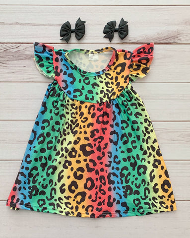 Rainbow Leopard Pearl Dress