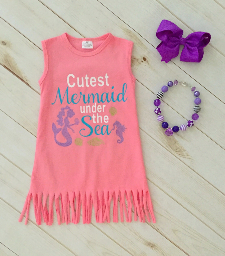 """Cutest Mermaid Under the Sea"" Fringe Dress"