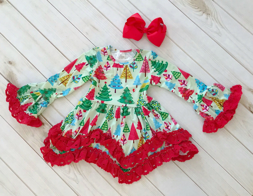 Whimsical Christmas Tree Lace Dress