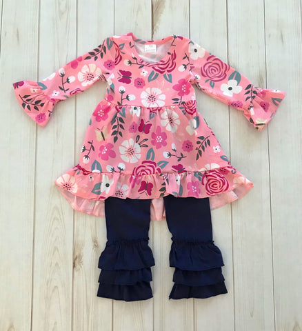 """Aubrey"" Floral Boutique Outfit - navy/pink  {LIMITED EDITION}"