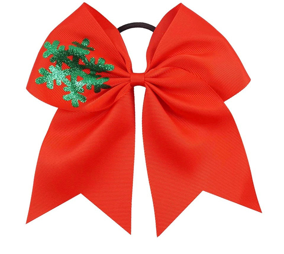 "Red Snowflake 7"" Bow Hair Tie"