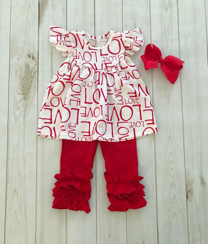 Full of LOVE Valentine's Pearl/Icing Pant Set {LIMITED}