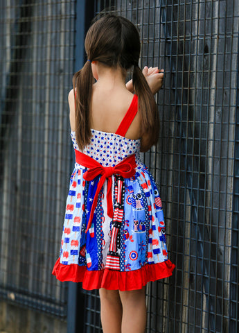 Patriotic Unicorn Twirl Dress
