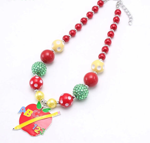 """ABC 123 Back to School"" Apple {Small Bead} Chunky Necklace"