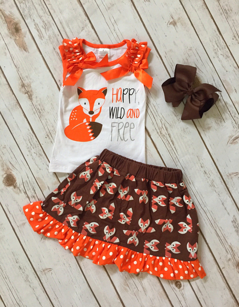 """Happy, Wild & Free"" Fox Skirt Set"