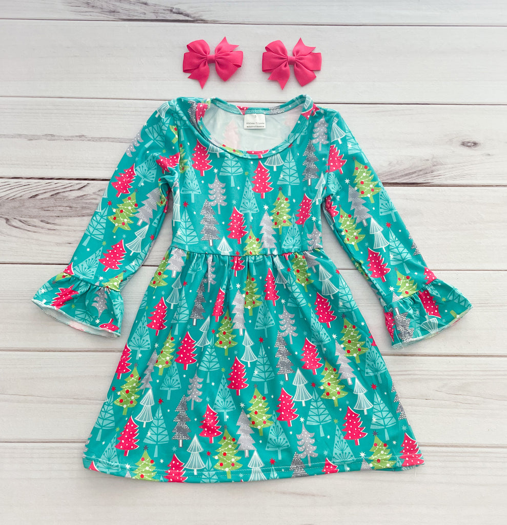 Aqua/Hot Pink Christmas Boutique Tree Dress