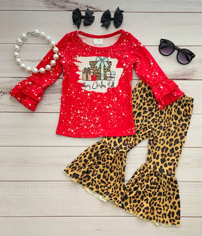 Merry Christmas Y'all Leopard Bells Set