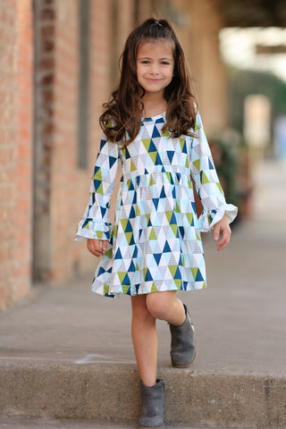 Olive/Navy Geometric Boutique Dress