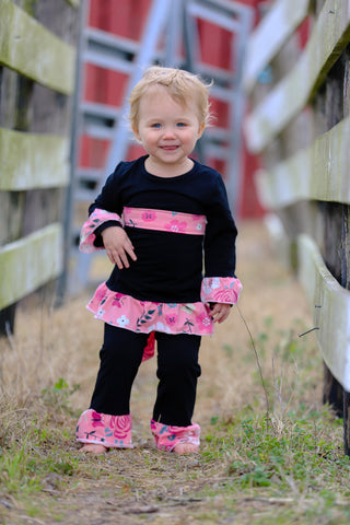 """Carlee"" Black/Pink Pant Set"