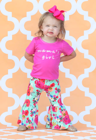 """Mama's Girl"" Floral Bell Bottom Pant Set"