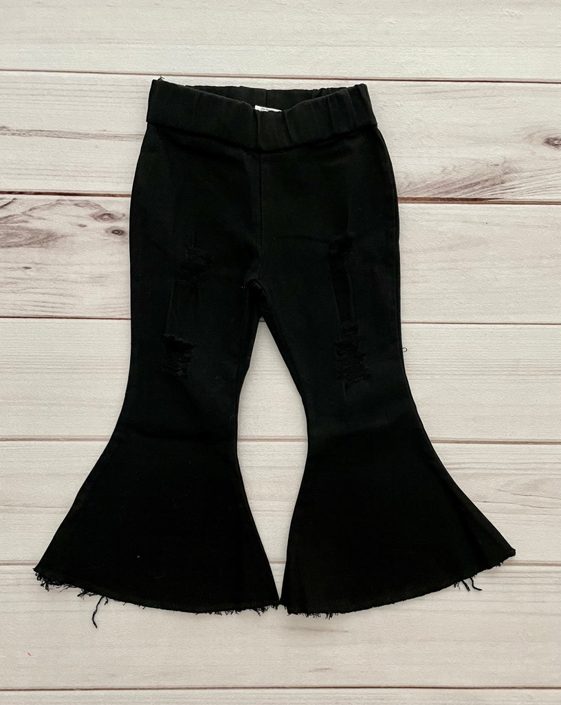 Black Distressed Flare Jeans