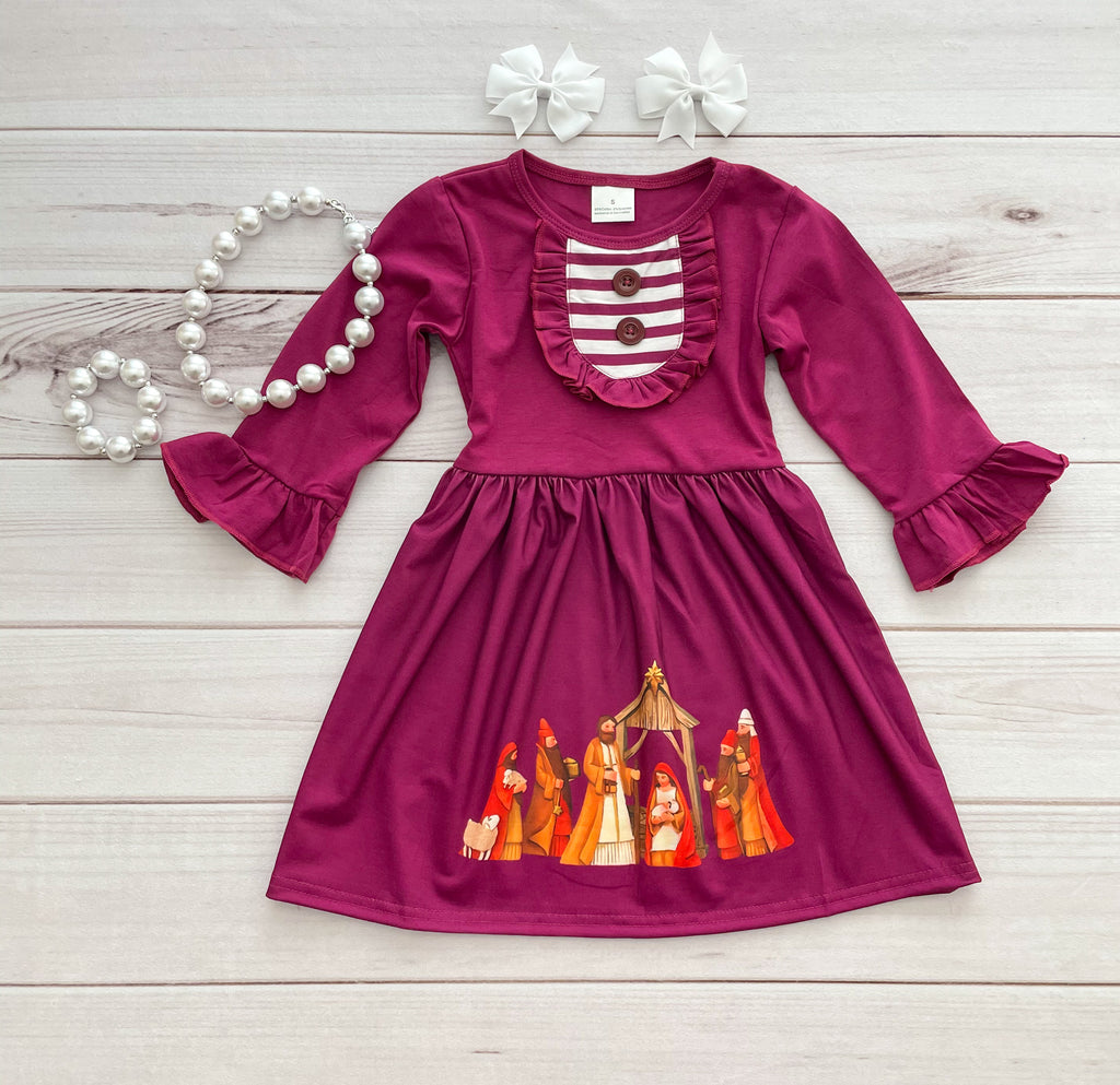 Burgundy Nativity Dress