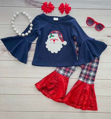 Navy/Plaid Santa Sequins Bells Set