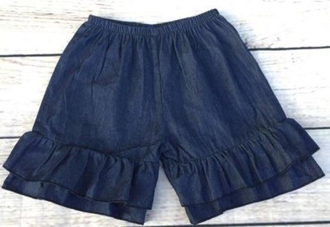 Denim Double Ruffle Shorts