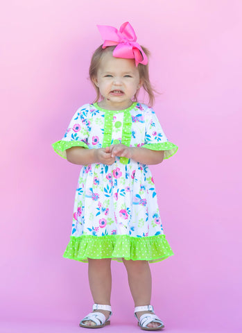 Lime/Pink Flamingle Boutique Dress