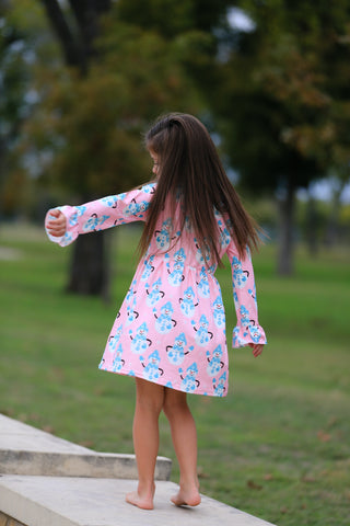 Pink Snowman Holiday Boutique Dress