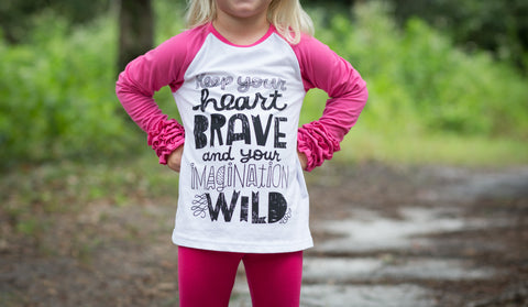 "EXCLUSIVE! ""Brave & Wild"" Raglan Ruffle Tee *Limited Edition*"