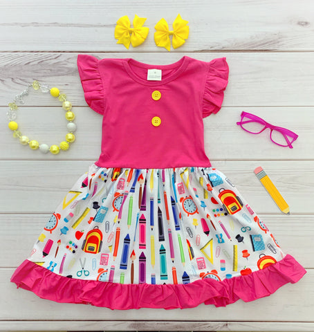 EXCLUSIVE! Pink School Supplies Boutique Dress {LIMITED}