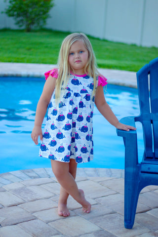 Whale Pearl Dress {LIMITED} Pink/Navy