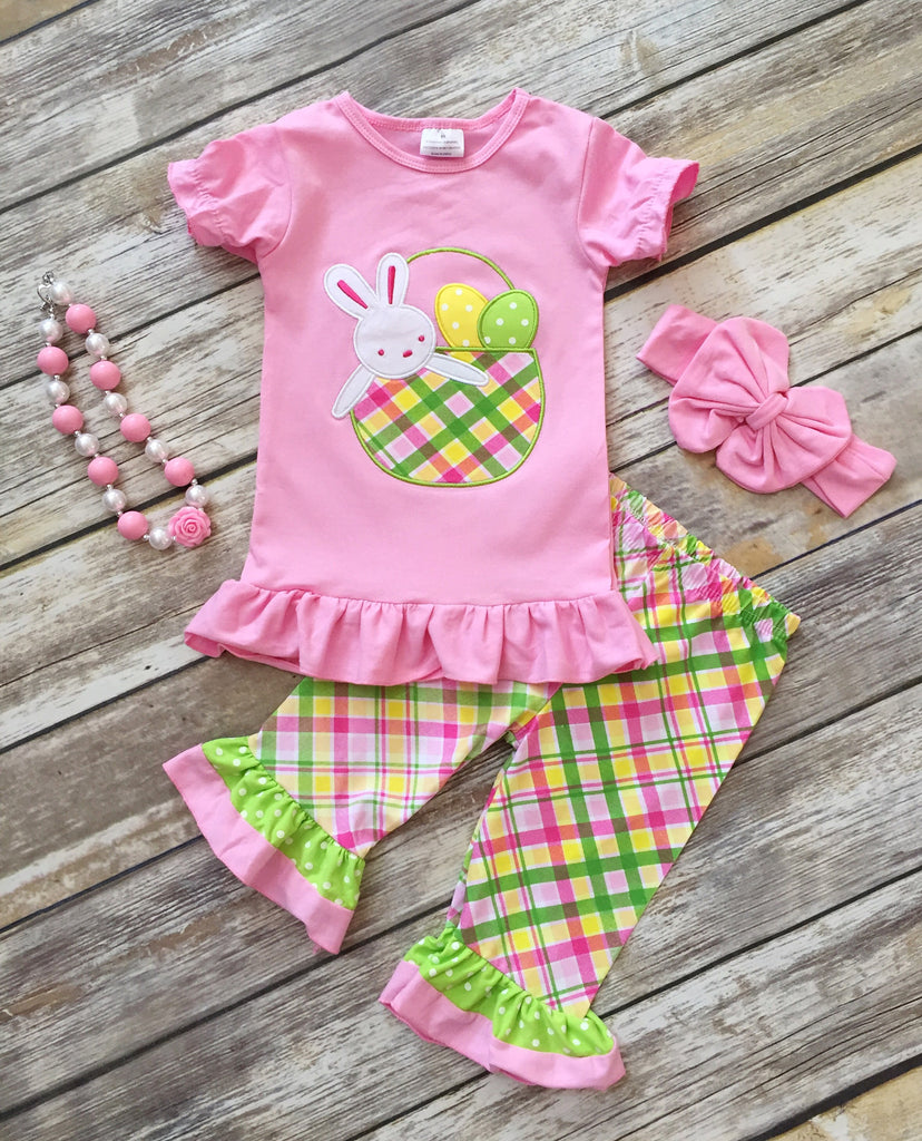 Easter Bunny Plaid Capri Outfit