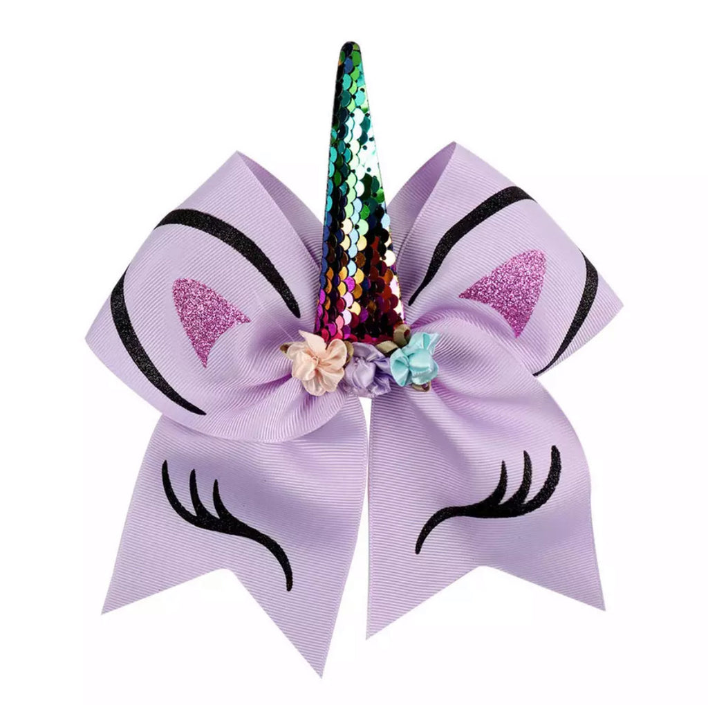 "Unicorn 7"" Bow Hair Tie - Lilac"
