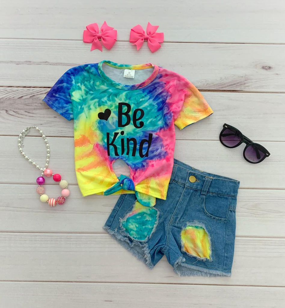"""Be Kind"" Tie-Dye Denim Short Set - runs BIG!"