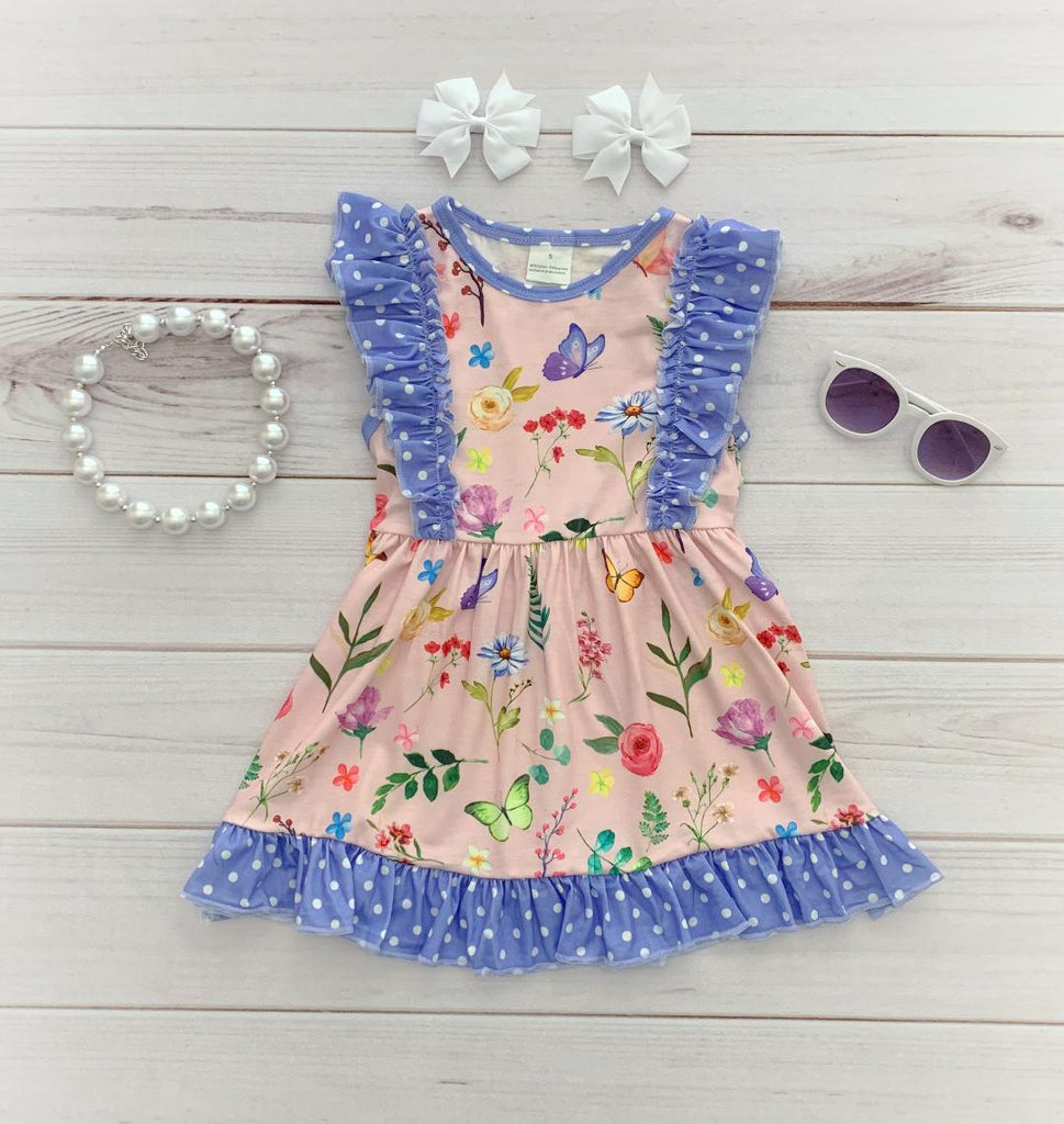 """Kinsley"" Floral Flutter Dress"