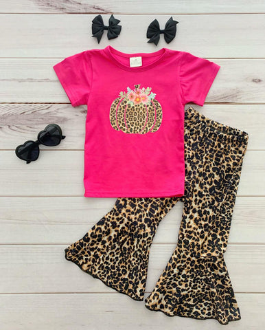 Hot Pink Pumpkin Leopard Bells Set