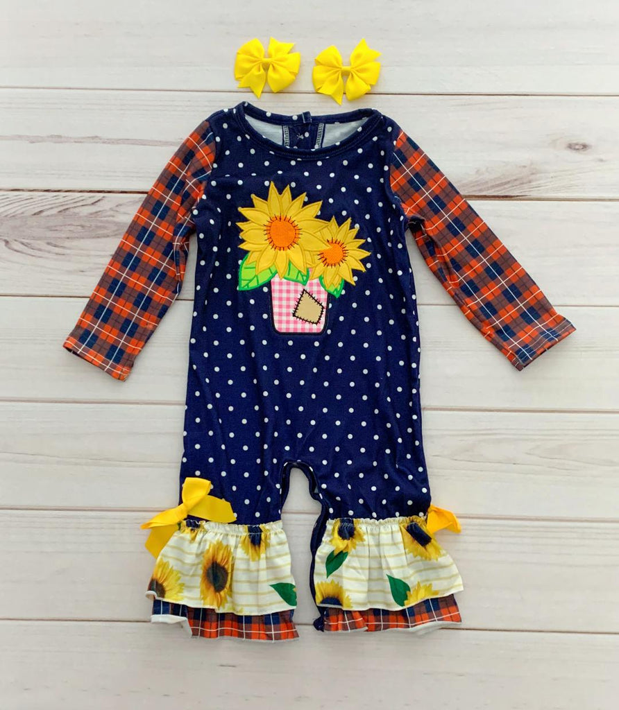 Plaid Sunflower Fall Romper - runs big!