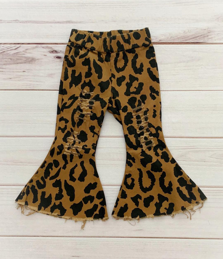 Leopard Distressed Flare Jeans
