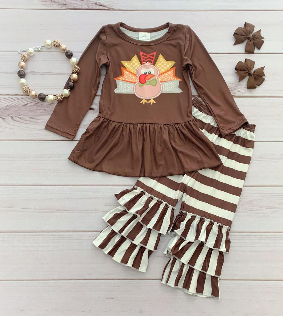 Turkey Triple Ruffle Pant Set
