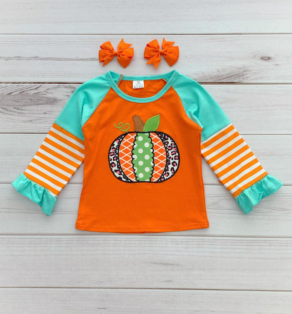 Aqua/Orange Sassy Pumpkin Long Sleeve Tee