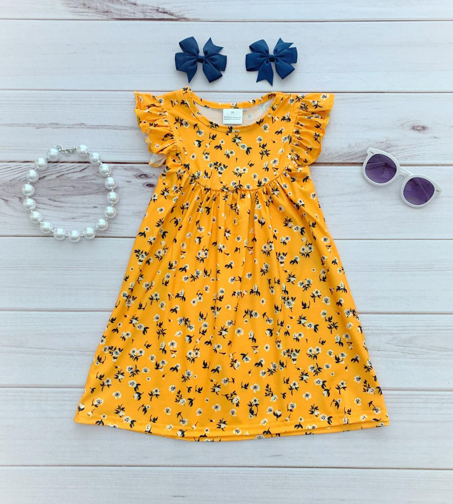 Mustard/Navy Floral Pearl Dress