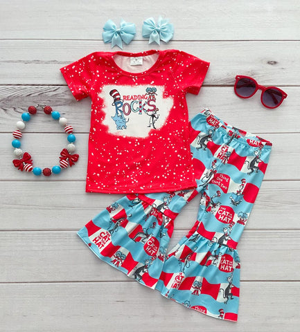 """Reading Rocks"" Dr. Seuss Bell Bottom Pant Set"