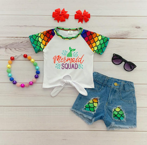 """Mermaid Squad"" Denim Short Set"