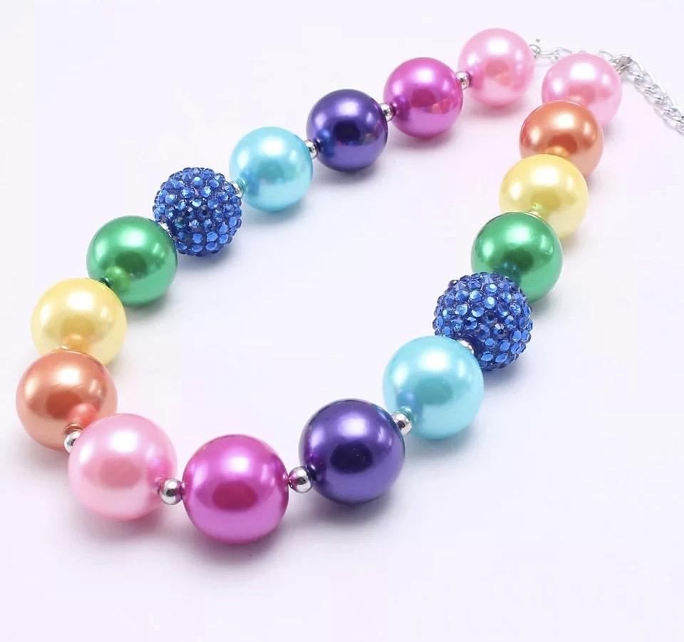 """SPARKLE Rainbow Pearls"" Chunky Necklace"