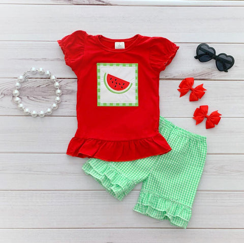 Watermelon Gingham Short Set