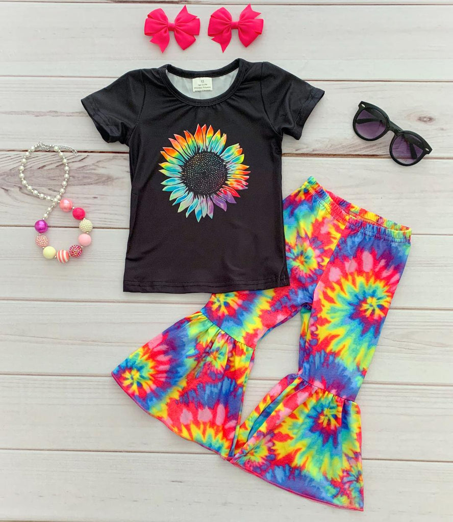 Tie-Dye Sunflower Bell Bottom Pant Set