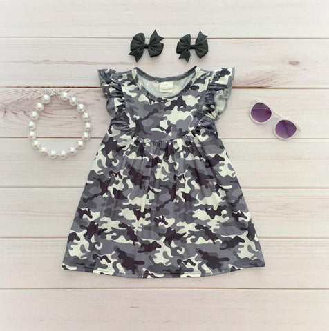 Gray Camo Pearl Dress