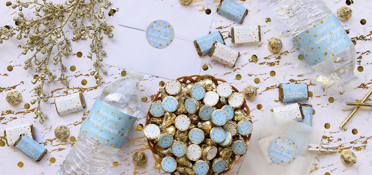 personalized blue and gold bridal shower decorations