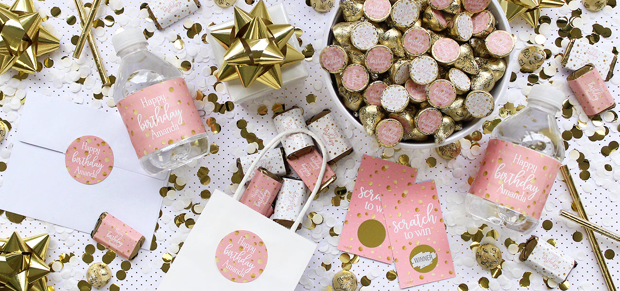 personalized pink and gold birthday decoration ideas