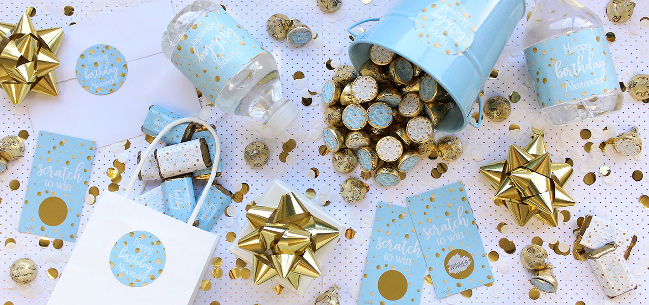 personalized blue and gold birthday decoration ideas