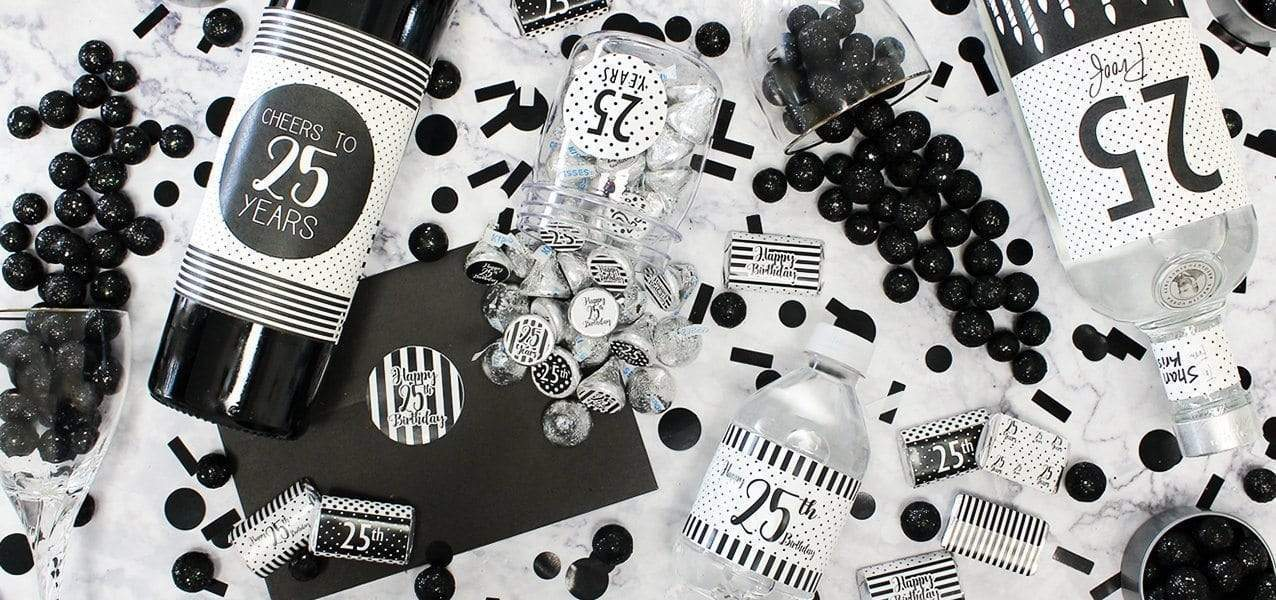 black and white birthday