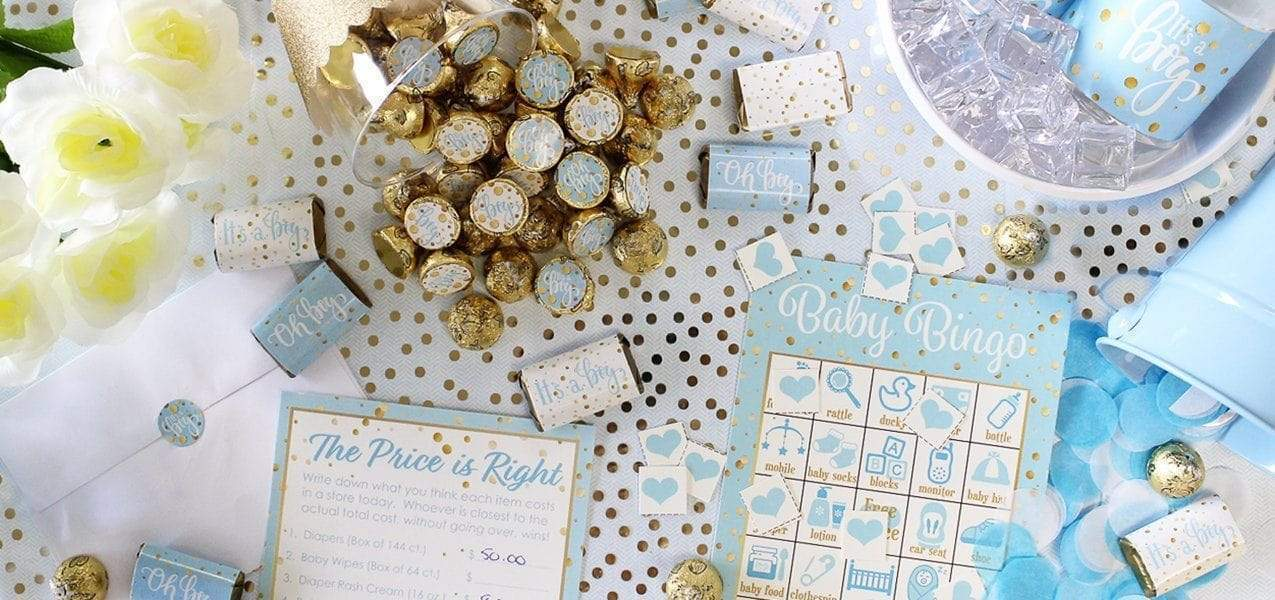 blue and gold baby shower