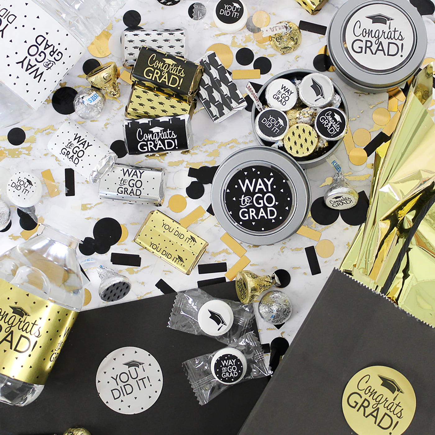 silver gold graduation party supplies