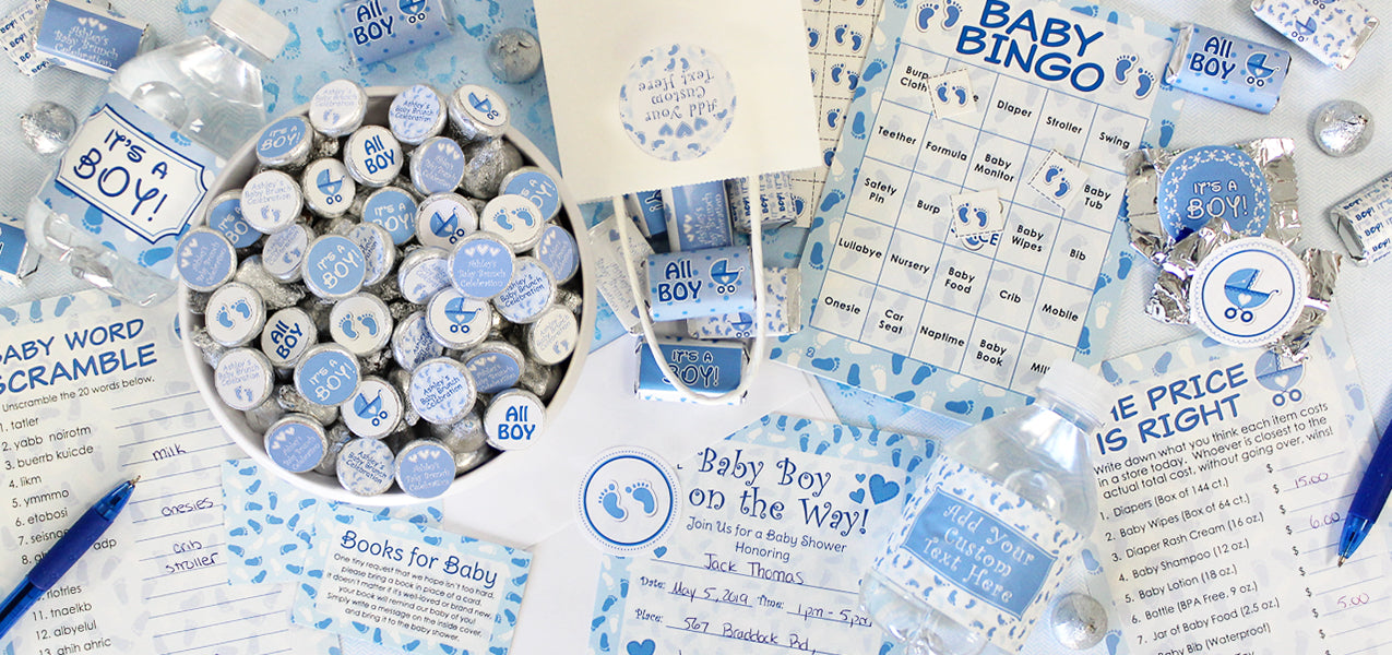 its a boy blue baby shower favors and games