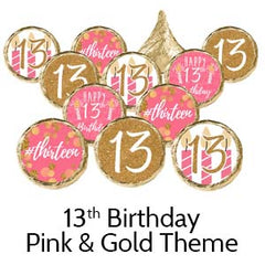 13th birthday pink gold party favors