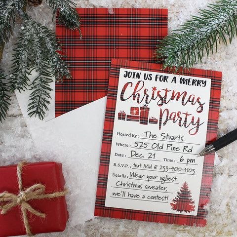 black and red plaid Christmas party invitations