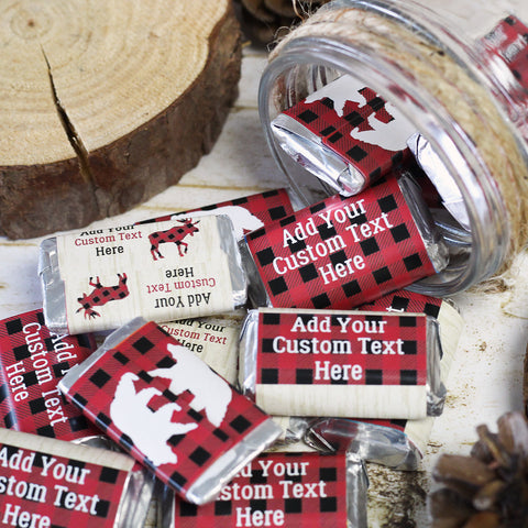 custom red and black plaid christmas party candy table ideas
