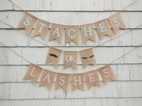 staches or lashes gender reveal banner ideas